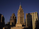 Sunlight on the Wrigley Building Tower and Tribune Building