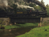 Cass Scenic Railroad Train Crossing a Bridge over a Stream