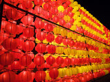 Paper Lanterns Hung Up During Annual Lantern Festival in Taipei
