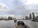 Barges Going Up the Huangpu River in Shanghai  China