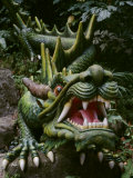 Chinese Green Lucky Dragon with Big Teeth Made of Stone