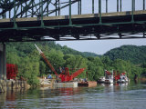 Construction Site and Equipment Near a Bridge on the Kanawha River
