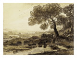 Sepia Landscape with Bridge