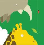 Safari Group: Giraffe and Rhino Reproduction d'art par Yuko Lau