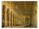 Interior of the Church of San Paolo Fuori Le Mura  Rome 1750