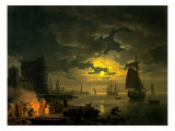 Entrance to the Port of Palermo by Moonlight  1769
