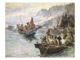 Lewis et Clark sur la Columbia inférieure Giclée premium par Charles Marion Russell