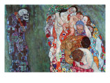 La mort et la vie (or) Reproduction d'art par Gustav Klimt