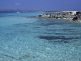 Rocky Coast and Sea  Formentera  Balearic Islands  Spain  Mediterranean  Europe