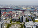View from Atop World Trade Center of Osaka Port Built on Reclaimed Land in Osaka Bay  Osaka  Japan