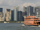 Famous Orange Staten Island Ferry Approaches Lower Manhattan  New York