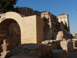 Restored Ruins of Roman City are Visible by River Ebro in Centre of City of Zaragoza  Aragon  Spain