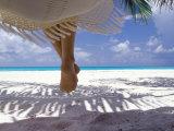 Woman Sitting on a Hammock Overlooking Sea  the Maldives  Indian Ocean  Asia