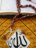 Koran  Rosary and Allah Calligraphy  Paris  France  Europe