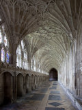 Interior of Cloisters with Fan Vaulting  Gloucester Cathedral  Gloucestershire  England  UK