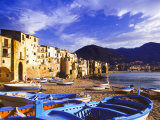 Fishing Boats on the Beach  Cefalu  Sicily  Italy  Mediterranean  Europe