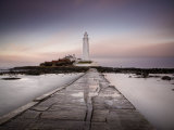 St Mary's Island and St Mary's Lighthouse at Dusk  Near Whitley Bay  Tyne and Wear  England  UK