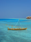 Taditional Dhoni and Water Villas  Maldives  Indian Ocean  Asia