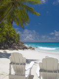 Two Adirondack Chairs on Tropical Beach  Seychelles  Indian Ocean  Africa