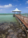 Pier Is Leading into the Blue Sea and Ends in a Small Hut  Mauritius  Indian Ocean  Africa