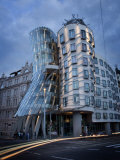 Dancing House (Fred and Ginger Building)  by Frank Gehry  at Dusk  Prague  Czech Republic