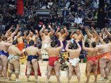 Fukuoka Sumo Competition  Entering the Ring Ceremony  Kyushu Basho  Fukuoka City  Kyushu  Japan