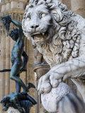 Marzocco Lion and Perseus Statue  Piazza Della Signoria  Florence  Tuscany  Italy