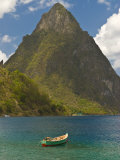 Wooden Rowboat Is Lying in Atlantic Ocean  St Lucia  Windward Islands  West Indies  Caribbean