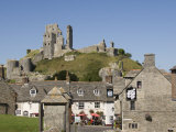 Corfe Village and Castle  Dorset  England  United Kingdom  Europe