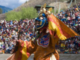 Traditionally Dressed Dancer at the Paro Tsechu  a Religious Dance Ceremony  Paro  Bhutan  Asia