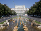 Fountains in Front of the Palace of Parliament  Former Ceausescu Palace  Bucharest  Romania  Europe