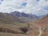Border Road Between Tajikistan and Kyrgyzstan in Mountains  Near Sary Tash  Kyrgyzstan  Asia