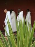 Monks in Keur Moussa Abbey Cloister  Keur Moussa  Senegal  West Africa  Africa