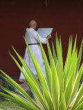 Monk in Keur Moussa Abbey Cloister  Keur Moussa  Senegal  West Africa  Africa