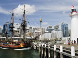 Replica of Captain Cook's Endeavour  National Maritime Museum  Darling Harbour  Sydney  Australia