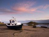 Fishing Boat on Aln Estuary at Twilight  Low Tide  Alnmouth  Near Alnwick  Northumberland  England