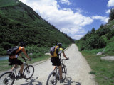 Cyclists  Val Veny Near Courmayeur  Valle D'Aosta  Italy  Europe