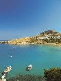 Acropolis Overlooking Bay  Lindos  Rhodes  Dodecanese  Greek Islands  Greece  Europe