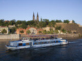 High Castle (Vysehrad) and River Boat on Vltava River  Prague  Czech Republic  Europe