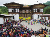 Dancers at Thangbi Mani Tsechu (Festival)  Jakar  Bumthang  Chokor Valley  Bhutan  Asia