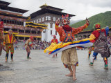 Dancers in Traditional Costume  Autumn Tsechu (Festival) at Trashi Chhoe Dzong  Bhutan  Asia