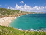 Holidaymakers and Tourists Sunbathing on Porthcurno Beach  Cornwall  England  United Kingdom