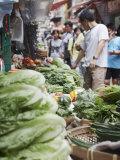 People Buying Vegetables at Graham Street Market  Central  Hong Kong Island  Hong Kong  China  Asia