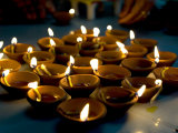 Deepak Lights (Oil and Cotton Wick Candles) Lit to Celebrate the Diwali Festival  India