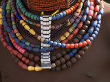 Close-Up of Bead Necklaces of a Hamer Woman  Turmi  Omo Region  Ethiopia  Africa