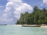 Boats on Coast in Turquoise Sea  Havelock Island  Andaman Islands  India  Indian Ocean  Asia