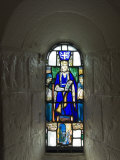 Stained Glass Windows in St Margarets Chapel  Built 1124 - 1153  Edinburgh Castle  Scotland