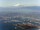 Aerial View of Yokohama City and Mount Fuji  Shizuoka Prefecture  Japan  Asia