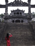 Vietnamese Schoolgirl Taking Picture of Khai Dinh's Tomb  Hue  Vietnam  Indochina  Southeast Asia