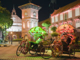 Rickshaw and Christ Church  Town Square  Melaka (Malacca)  Melaka State  Malaysia  Southeast Asia  